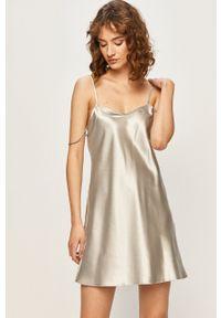 Local Heroes - Sukienka Grey Satin. Kolor: szary. Materiał: tkanina, materiał, satyna. Wzór: ze splotem. Typ sukienki: dopasowane