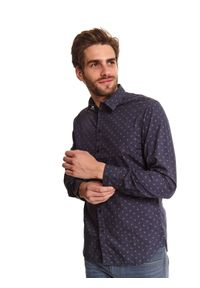 TOP SECRET - Koszula we wzór taliowana. Kolor: niebieski. Materiał: materiał. Długość rękawa: długi rękaw. Długość: długie. Sezon: zima. Styl: klasyczny, elegancki