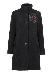 Szary płaszcz Cellbes ze stójką, melanż, elegancki