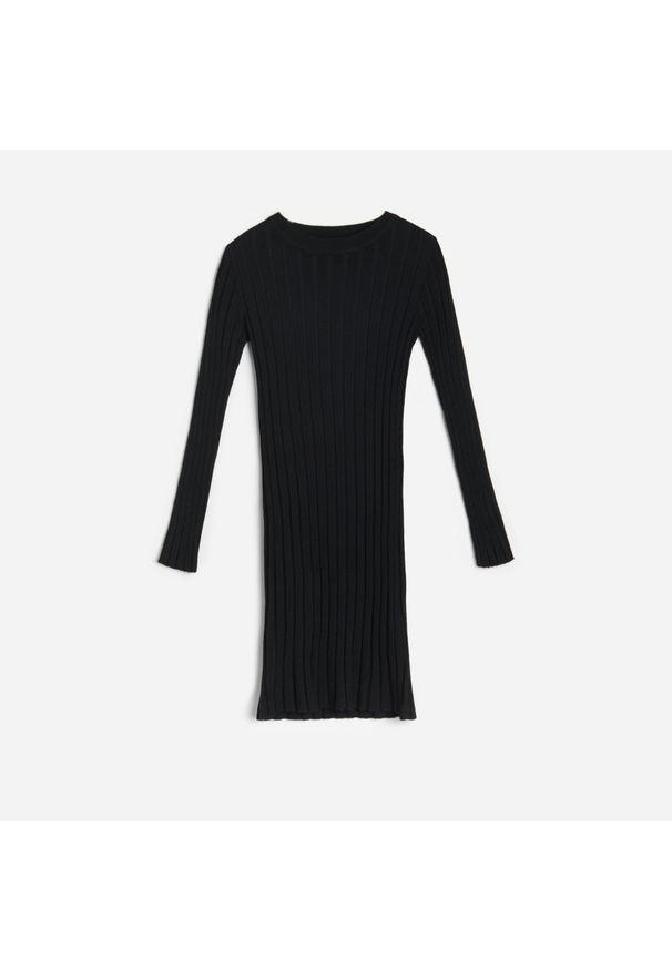 Reserved - Dzianinowa sukienka - Czarny. Kolor: czarny. Materiał: dzianina