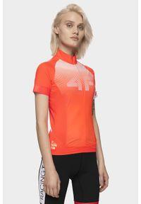 4f - Koszulka rowerowa damska RKD151 - pomarańcz neon. Typ kołnierza: kołnierzyk stójkowy. Kolor: pomarańczowy. Materiał: włókno. Długość: długie. Sport: kolarstwo