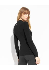 Ermanno Firenze - ERMANNO FIRENZE - Czarny prążkowany sweter z logo. Kolor: czarny. Materiał: prążkowany. Długość rękawa: długi rękaw. Długość: długie