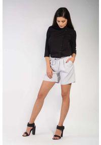 Szare spodnie z wysokim stanem Nommo krótkie