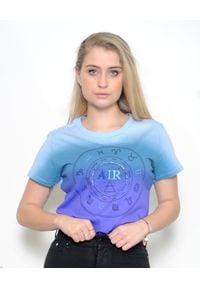 Pinko - PINKO - T-shirt z nadrukiem Naike AIR. Okazja: na co dzień. Kolor: wielokolorowy, fioletowy, różowy. Wzór: nadruk. Styl: casual