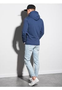 Ombre Clothing - Bluza męska rozpinana z kapturem B1152 - ciemnoniebieska - XXL. Typ kołnierza: kaptur. Kolor: niebieski. Materiał: poliester, bawełna