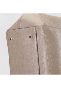 Wittchen - Torebka shopperka skórzana klasyczna. Kolor: beżowy. Wzór: haft. Dodatki: z haftem. Materiał: skórzane. Styl: klasyczny