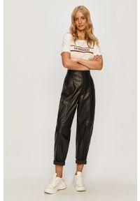 Czarne spodnie materiałowe Vero Moda na co dzień, z podwyższonym stanem