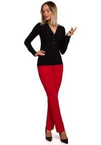 MOE - Czarna Prążkowana Bluzka z Dekoltem V. Kolor: czarny. Materiał: prążkowany