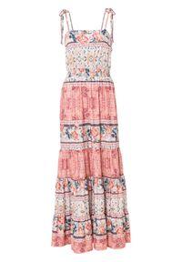 Długa sukienka bonprix kremowo-różowo-turkusowy z nadrukiem. Kolor: beżowy. Wzór: nadruk. Długość: maxi