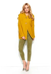 Żółty sweter oversize Makadamia z kapturem