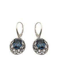 Polcarat Design - Kolczyki srebrne oksydowane Swarovski K 1672. Materiał: srebrne. Kolor: srebrny. Kamień szlachetny: kryształ