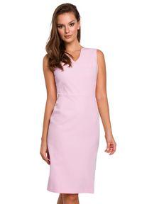 Makover - Elegancka ołówkowa sukienka midi z dekoltem V różowa. Okazja: do pracy, na imprezę, na randkę. Kolor: różowy. Długość rękawa: bez rękawów. Typ sukienki: ołówkowe. Styl: elegancki. Długość: midi