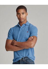Ralph Lauren - RALPH LAUREN - Niebieska polówka Mesh Custom Fit. Typ kołnierza: polo. Kolor: niebieski. Materiał: mesh. Długość: długie. Wzór: ze splotem, haft, melanż. Styl: klasyczny