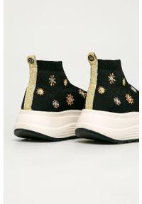 Czarne buty sportowe Desigual na obcasie, na średnim obcasie, z okrągłym noskiem