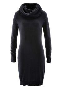 Sukienka dzianinowa z golfem bonprix czarny. Typ kołnierza: golf. Kolor: czarny. Materiał: dzianina. Długość rękawa: długi rękaw
