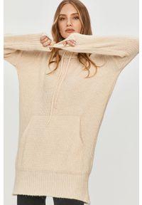 Beżowy sweter Answear Lab z długim rękawem, wakacyjny, długi, z kapturem