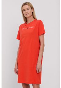 TOMMY HILFIGER - Tommy Hilfiger - Koszula nocna. Kolor: pomarańczowy. Materiał: bawełna, dzianina. Wzór: nadruk