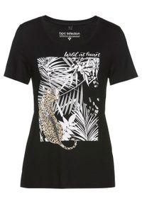 T-shirt z przyjaznej dla środowiska wiskozy bonprix czarno-biało-piaskowo-srebrny z nadrukiem. Kolor: czarny. Materiał: wiskoza. Wzór: nadruk