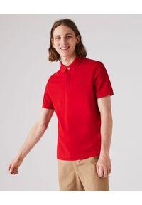 Lacoste - LACOSTE - Czerwony t-shirt polo z bawełnianej piki Regular Fit. Typ kołnierza: polo. Kolor: czerwony. Materiał: bawełna