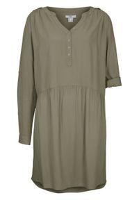 Zielona sukienka bonprix koszulowa, z długim rękawem