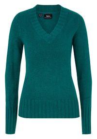 Sweter z dekoltem w serek bonprix głęboki zielony. Typ kołnierza: dekolt w serek. Kolor: zielony
