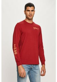 Czerwona koszulka z długim rękawem Diesel na co dzień, z nadrukiem, casualowa