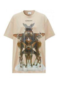 Beżowy t-shirt Burberry z nadrukiem, na imprezę