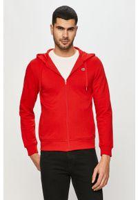 Czerwona bluza rozpinana Lacoste na co dzień, casualowa