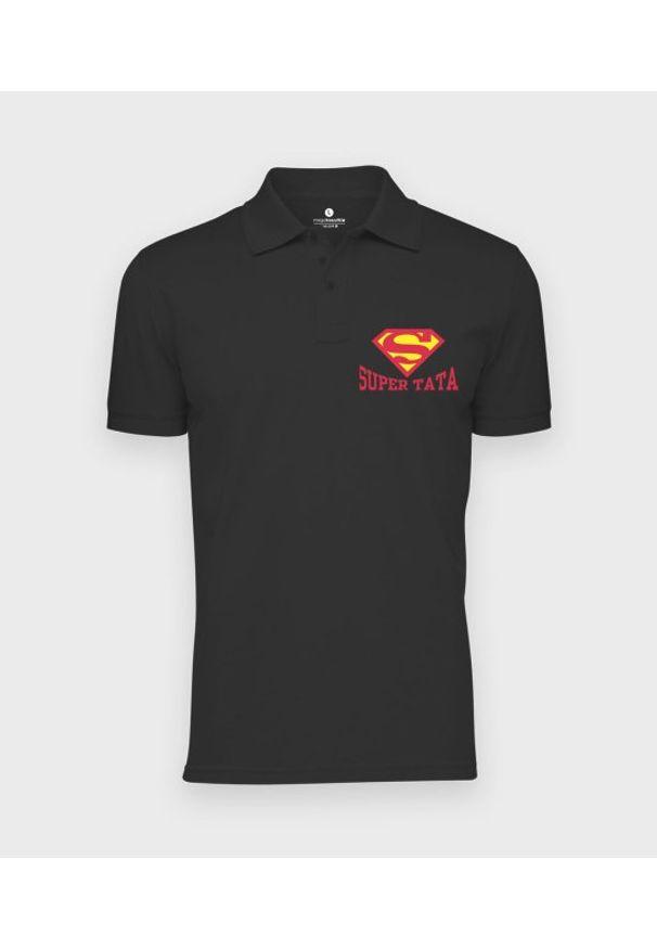MegaKoszulki - Koszulka polo męska Super tata. Typ kołnierza: polo. Materiał: bawełna. Wzór: ze splotem