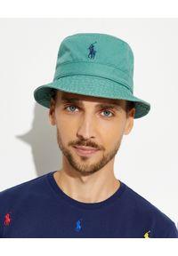 Ralph Lauren - RALPH LAUREN - Zielony kapelusz Bucket. Kolor: zielony. Materiał: bawełna. Wzór: haft