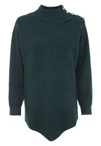 Sweter z guzikami bonprix głęboki zielony. Kolor: zielony. Długość: krótkie