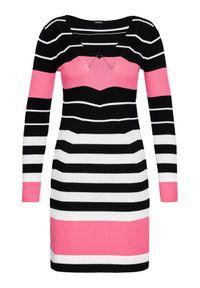 Guess Sukienka dzianinowa W1YK1H Z2V60 Kolorowy Slim Fit. Materiał: dzianina. Wzór: kolorowy