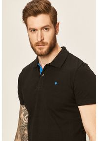 Czarna koszulka polo Tom Tailor Denim casualowa, polo, na co dzień, krótka