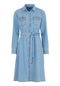 Niebieska sukienka Happy Holly z długim rękawem