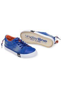 UNDERLINE - Trampki dziecięce Underline T-2-1013 Niebieskie. Zapięcie: sznurówki. Kolor: niebieski. Materiał: tworzywo sztuczne, tkanina