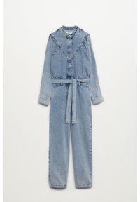 mango - Mango - Kombinezon jeansowy Lola. Kolor: fioletowy. Materiał: jeans. Długość rękawa: długi rękaw. Długość: długie