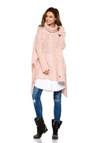 Różowy długi sweter Lemoniade z asymetrycznym kołnierzem