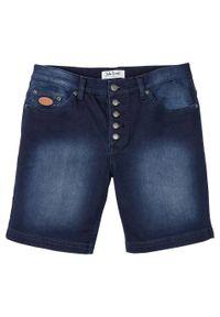 Długie szorty dżinsowe ze stretchem Regular Fit bonprix ciemny denim. Kolor: niebieski. Długość: długie