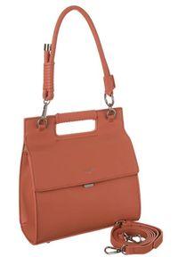 Pomarańczowa torebka DAVID JONES gładkie, skórzana, elegancka