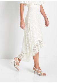 Spódnica koronkowa z dłuższym tyłem bonprix biel wełny. Kolor: biały. Materiał: koronka, wełna. Długość: długie. Styl: elegancki
