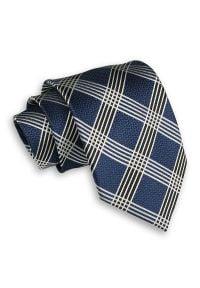 Granatowy Męski Krawat -Chattier- 8cm, Klasyczny, Szeroki, Elegancki, w Biało-Czarną Kratkę. Kolor: niebieski. Materiał: tkanina. Wzór: kratka. Styl: klasyczny, elegancki