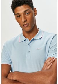 Niebieska koszulka polo Cross Jeans casualowa, gładkie, na co dzień, polo