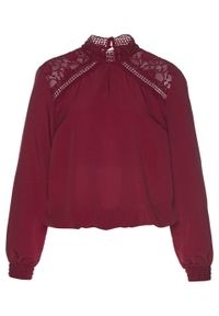 Czerwona bluzka bonprix w koronkowe wzory, ze stójką