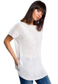 Biały sweter oversize MOE z krótkim rękawem, krótki, na lato