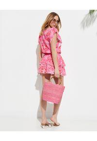Melissa Odabash - MELISSA ODABASH - Sukienka mini Keri. Okazja: na plażę. Kolor: różowy, wielokolorowy, fioletowy. Materiał: tkanina, wiskoza, koronka. Wzór: koronka, aplikacja. Styl: wakacyjny. Długość: mini