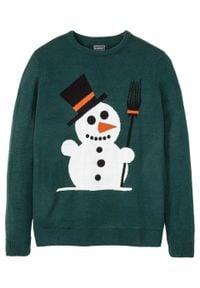 Sweter z bożonarodzeniowym motywem bonprix głęboki zielony. Kolor: zielony. Materiał: akryl, materiał