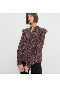 House - Wiskozowa bluzka z falbaną - Wielobarwny. Materiał: wiskoza