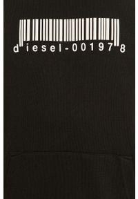 Czarna bluza nierozpinana Diesel z aplikacjami, casualowa, z kapturem, na co dzień