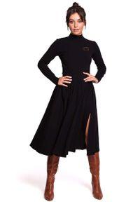 MOE - Czarna Dzianinowa Marszczona Spódnica na Gumie. Kolor: czarny. Materiał: dzianina, guma