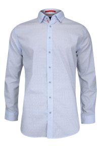 Niebieska elegancka koszula Rey Jay długa, w kropki, do pracy, z długim rękawem